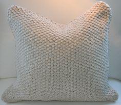 strikket_pute_off_white_sense_of_joy Knit Pillow, Off White, Crochet Top, Barn, Joy, Throw Pillows, Knitting, Women, Fashion