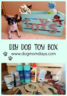 DIY dog toy box - make a super cute box for all of your dogs toys Read the whole post to see where I got all of my materials and find out where you can save money on them DIY - toy box - dog projects - dog crafts Homemade Dog Toys, Diy Dog Toys, Cute Dog Toys, Toy Diy, Homemade Crafts, Cat Toys, Pet Dogs, Dogs And Puppies, Puppies Stuff