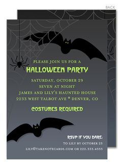 Bats Night Out Halloween Invitations