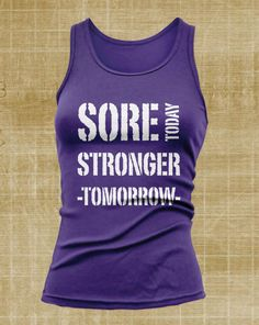 Sore Today Stronger Tommorow  Women's Tank Top (White Print)  Crossfit, Muscle Up,Snatch, Healthy Body Building, Power Lifting, Workout on Etsy, $14.99