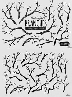 Hand Crafted Tree Branches Vector Illustration AI, EPS
