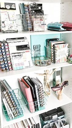 Need some bedroom organization ideas to make the most of your small space Click through for 17 organization hacks you can DIY today to start saving space Bedroom DIY Ide. Dorm Room Organization, Organization Hacks, Office Storage, Basket Organization, Stationary Organization, Bookshelf Organization, Organization Ideas For Bedrooms, Storage Hacks, Make Up Organization Ideas