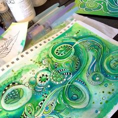 Watercolor on a background then doodle on it. two of my favorite things [watercolor & Zentangle] Zen Doodle, Doodle Art, Diy Art, Painting & Drawing, Doodles Zentangles, Ink Doodles, Tangle Art, Art Journal Pages, Art Journals