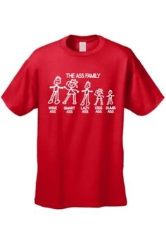 Men's/Unisex Funny Meet The Ass Family! Short Sleeve T-Shirt, Size: XXXXX-Large, Red