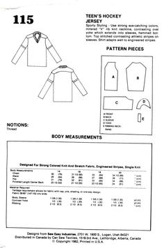 Sew Easy designs by Jo Lynn 115 Hockey V-Neck T-Shirt Jersey for Teens sizes 14-20 I have included the back so you can buy fabric or supplies before hand uncut condition with all pattern pieces May have some handmade pattern pieces in the packet not going to throw them away you may need them