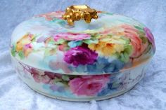 "Spectacularly Decorated Vintage 1900's J.P.L. France Limoges Hand Painted Vibrant ""Red, Pink, Yellow, & Peach Roses"" 7"" Dresser Box"