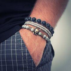Layered Bracelets For Men, 3 Stackable Bracelet, Bracelet Set, Labradorite Bracelet, Pulsera, Armband, Mens Bracelet, Christmas Gift by JuniperandEloise on Etsy