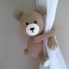 Bear curtain tieback crochet PATTERN right or left bear Crochet Teddy, Crochet Bear, Crochet Animals, Crochet Toys, Amigurumi Patterns, Magic Ring Crochet, Curtain Holder, Baby Mobile, Baby Toys