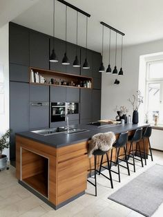 Modern kitchen lighting fixtures and over island ideas will add style to any home - for low ceiling inexpensive diy home light decor Luxury Kitchen Design, Best Kitchen Designs, Interior Design Kitchen, Modern Kitchen Lighting, Kitchen Lighting Fixtures, Light Fixtures, Classic Kitchen, Stylish Kitchen, Kitchen Modern