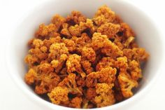 A crunchy snack for movie time that uses spiced cauliflower instead of traditional corn.