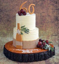 60 th birthday cake ! - Cake by Hima bindu Birthday Cake Wine, 60th Birthday Cake For Men, Luau Birthday Cakes, Toddler Birthday Cakes, Homemade Birthday Cakes, Dad Birthday, Birthday Presents, Wine Theme Cakes, Wine Cakes