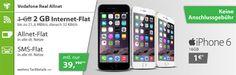 iPhone 6 für 1€ mit 2GB Vodafone Allnet Flat für mtl. 39,99€ http://www.simdealz.de/vodafone/iphone-6-mit-vodafone-real-allnet-flat/
