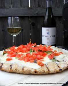 Margarita Pizza on the Grill with wine! My two favorite things
