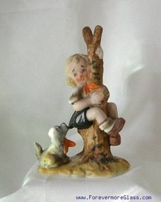 Early LEFTON Figurine LITTLE GIRL Puppy TREE