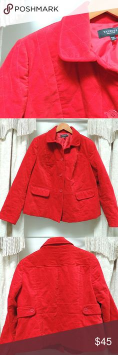 RED Talbots quilted jacket Gorgeous red quilted jacket.  Button up the front and 2 pockets.  Has nice detail on the sleeve and back. Talbots Jackets & Coats