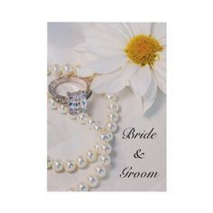 Elegant #Daisy #Wedding #Invitation  http://www.zazzle.com/loraseverson*  Invite your friends and family to your upcoming nuptials with the Elegant Daisy Wedding Invitation. Customize it with your specific marriage ceremony details.This classy custom floral wedding invite features a photograph of a white daisy flower blossom, princess cut diamond engagement ring and white pearl necklace. Perfect for the couple who are planning a pretty white floral or daisy wedding theme.