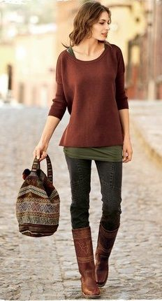 Casual Autumn Style...love the rusty red