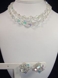 Vintage Aurora Borelais Necklace & Earrings Set Graduated Faceted Glass Beads #Unbranded #Collar