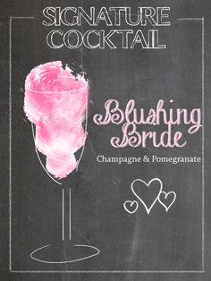 Signature Cocktails for the Wedding <3 Chalk Illustration <3 Blushing Bride  More on our blog: http://www.belle-melange.com/signature-wedding-cocktails/