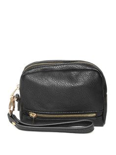FOREVER 21 Women Black Textured Travel Pouch