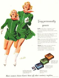 "1951 Ad Kotex feminine napkins belt ice skating mom girl art Print Ad 10.5""x13"