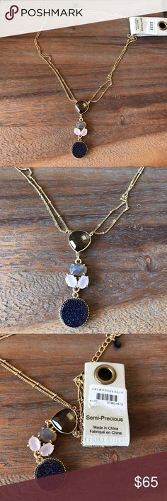 🐘 Anthropologie semiprecious stone necklace Anthropologie new with Tags gold plated semiprecious stone pendant necklace.  It's a beautiful necklace, just have way too much jewelry.  Comes with jewelry pouch which they typically give you from the store. Anthropologie Jewelry Necklaces