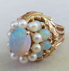 VINTAGE BIG FIERY AUSTRALIAN OPAL CLUSTER & PEARL 14K GOLD DOMED COCKTAIL RING