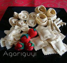 Pasta Italiana y Fresas , hecho con fieltro