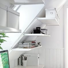 Add Storage to the Attic: Use shelf brackets designed for slanted walls to add storage under the rafters (Photo: ikea.com) by AislingH
