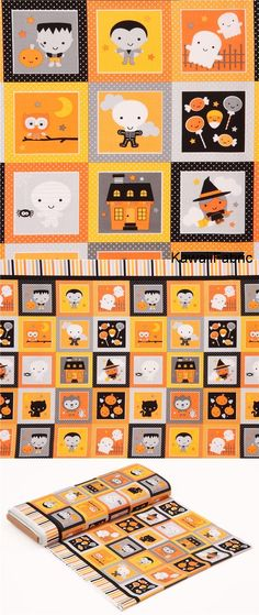 cute Riley Blake fabric pumpkin ghost witch square dot Ghouls and Goodies - Kawaii Fabric Shop Halloween Quilts, Halloween Fabric, Michael Miller, Couture Pour Halloween, Halloween Stoff, Textiles, Modes4u, Fabric Pumpkins, Riley Blake