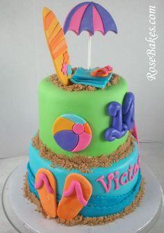 Beach Birthday Cake with Flip-Flops & Surf Boards + Cake Pops