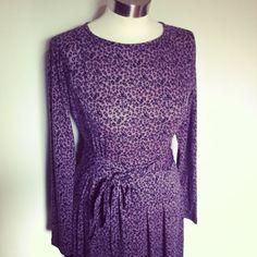 Purple  Pleated floral modest midi dress by TAMARLANDAU on Etsy