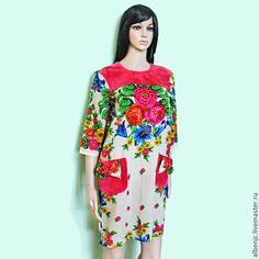 """Купить платье """"Цветы"""" - цветочный, из платков, платок, шерсть, платье, Коктейльное платье, оригинальное платье"""