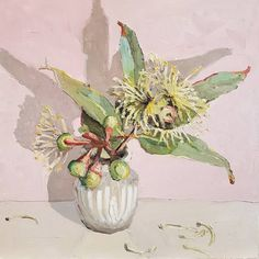 Jane Guthleben,Pom Pom Blossom 2017, Oil on Board, 40 x 40 cm, .M Contemporary, Art Gallery, 37 Ocean St, Woollahra, NSW, enquire at gallery@mcontemp.com
