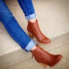 Cognac ankle booties by LOFT