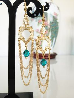 Long Gold Chandelier Earrings Art Deco Jewelry Aqua Crystal Earrings