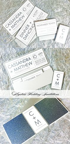 The Cassandra Suite - Modern Sparkle Glitter Pocketfold Wedding Invitations - Krystals Wedding Invitations #weddings #weddinginvitation