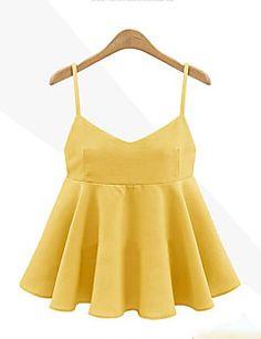 Mulheres Blusa Casual Sensual Verão,Sólido Azul / Preto / Amarelo Poliéster Com…