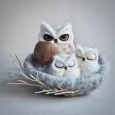 Needle felted owl nest by The Lady Moth - owl family - felted owl - fibre art - wool sculpture - textile art