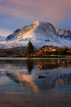 Barbara R Jones / Meall Gorm of the Applecross, Mountains, viewed from Ardarroch, across Loch Kishorn in late afternoon sunshine in Winter. North West Scotland.