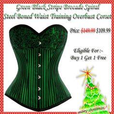WTOB- 5063 Green Black Stripe Brocade Spiral Steel Boned Waist Training Overbust Corset