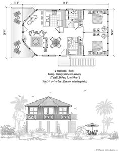 Stilt house plans, just over 1,000 square feet. Piling Collection PGE-0101 (1005 sq. ft.) 2 Bedrooms, 1 Baths