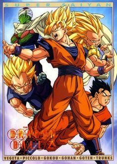 Vegeta, Goku, Gotenks, Gohan, and Piccolo