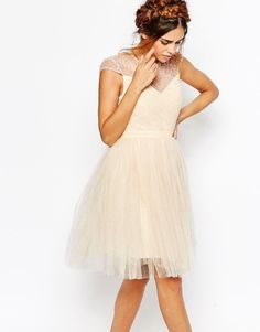 Buy Little Mistress Ruched Bodice Skater Dress With Pleated Tulle Skirt at ASOS. Get the latest trends with ASOS now. Petite Prom Dress, Petite Cocktail Dresses, Fit And Flare Cocktail Dress, Sequin Cocktail Dress, Petite Dresses, Flare Dress, White Sequin Dress, White Fitted Dress, White Skater Dresses