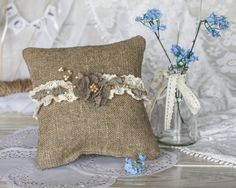 Cute Rustic Wedding ring bearer pillow with  от RusticBeachChic #toastingflutes, #guestbooks, #unitycandles, #caketoppers and different #tablesetting. #wedding #weddings #weddingaccessories