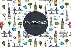 San Francisco Vector Free Pattern is a wonderful seamless set. Vector Pattern, Pattern Design, Free Pattern, Free Vector Graphics, Vector Art, Website Design Layout, Free Illustrations, Icon Set, Creative Design