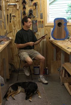 Shop dog Ziggy with luthier Jay Lichty, Lichty Guitars