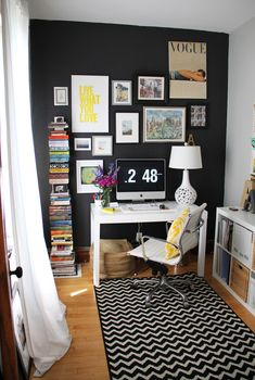Editor @Alaina Kaczmarski's Home Tour // home office // black wall // gallery wall // chevron rug // black and white // colorful