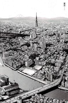 気 : Photo Cityscape Drawing, City Drawing, Cityscape Art, Landscape Drawings, Architecture Drawings, Landscapes, Desenhos Gravity Falls, Japon Tokyo, Illustration Art