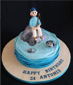 Fisherman cake Fisherman Cake, Rodjendanske Torte, Nautical Cake, 40th Birthday, Boating, Cake Decorating, Fishing, Cakes, Desserts